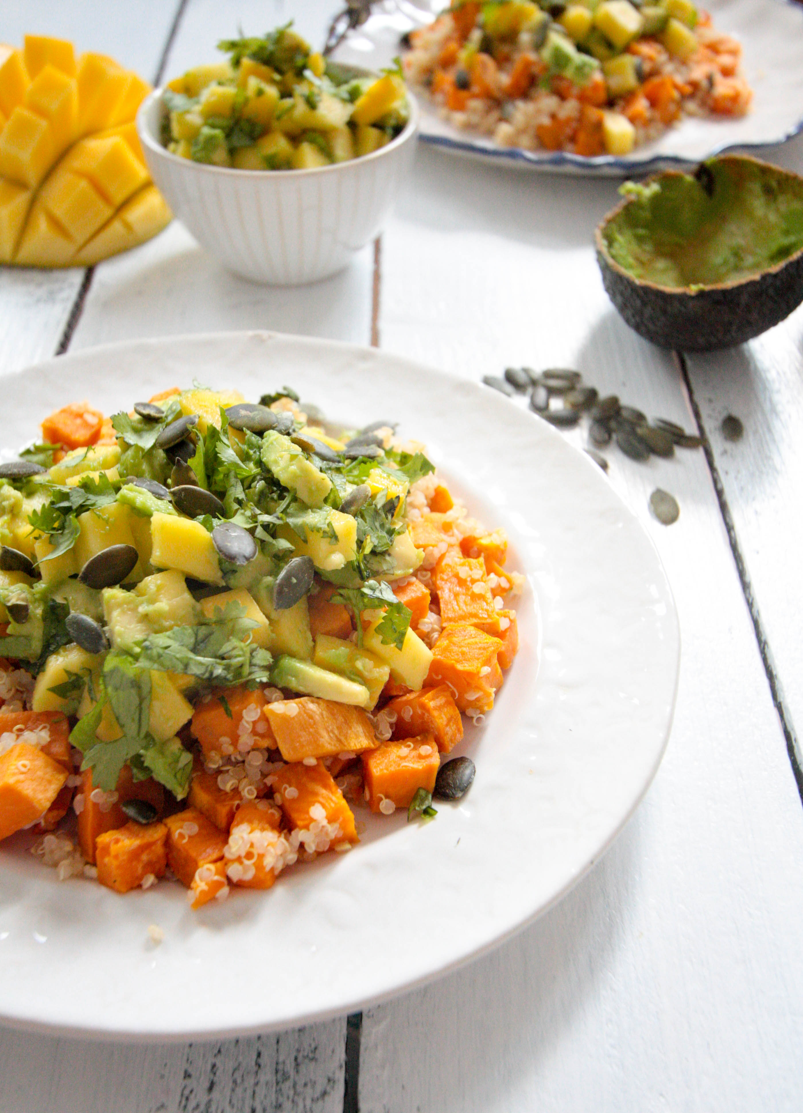 Sweet Potato Quinoa Salad with Avocado Mango Salsa