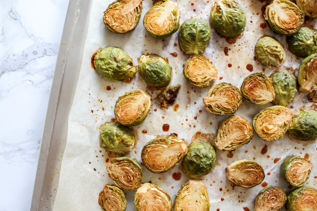 Honey Roasted Brussels Sprouts with Pomegranate Seeds - plant-based, gluten free, refined sugar free - heavenlynnhealthy.com