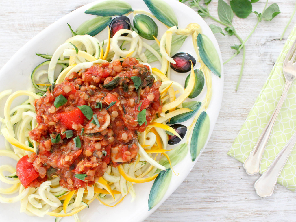 Re-Energizing Lentil Bolognese with Zucchini Noodles - vegetarian, vegan, gluten free, refined sugar free, plant based, dairy-free, meat-free, soy-free  - heavenlynnhealthy.com