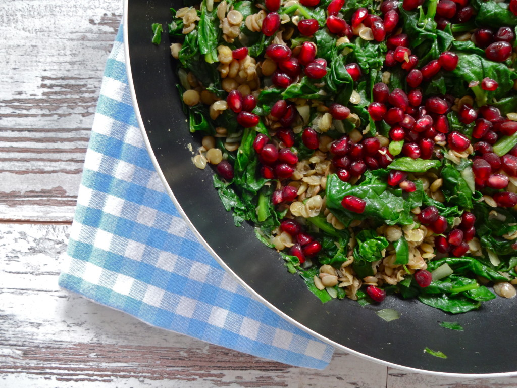 Sautéed Spinach with Lentils and Pomegranate