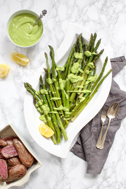 Asparagus with Avocado Hollandaise