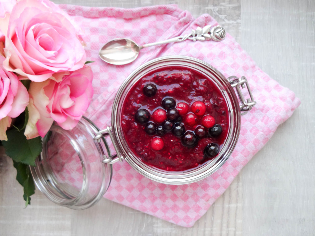 Berry Chia Pudding with Rhubarb and Vanilla Almond Milk