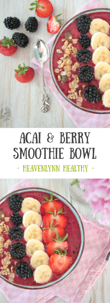 Acai and Berry Smoothie Bowl - vegan, gluten-free, refined sugar-free