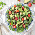 Avocado Broccoli Salad with Strawberry Mint Dressing