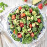 Avocado Broccoli Salad with Strawberry Mint Dressing