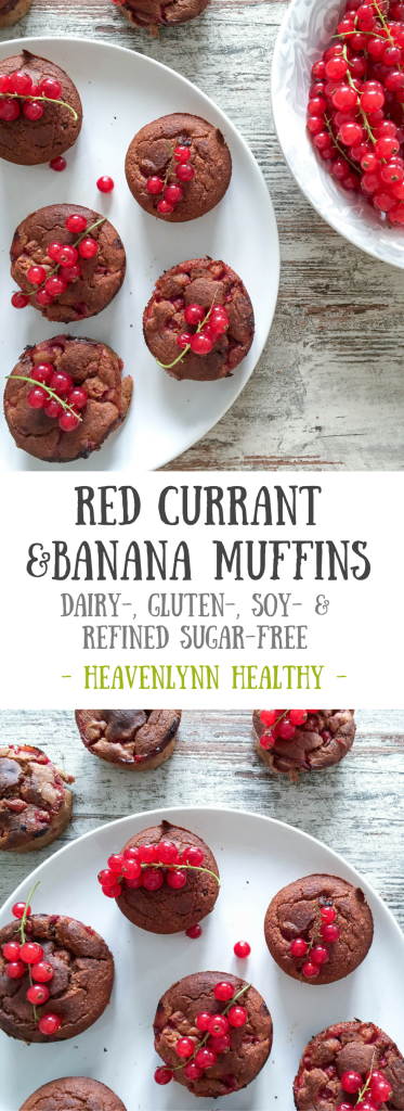 Red Currant and Banana Muffins - dairy-free, gluten-free, refined sugar-free
