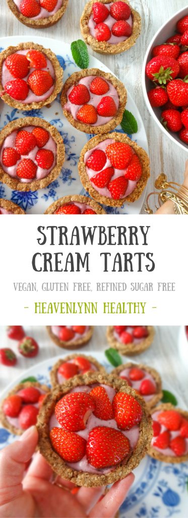 Strawberry Cream Tarts - Vegan, Gluten-Free, Refined Sugar-Free
