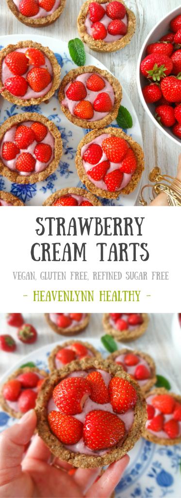 Strawberry Cream Tarts - Vegan, Gluten-Free, Refined Sugar-Free