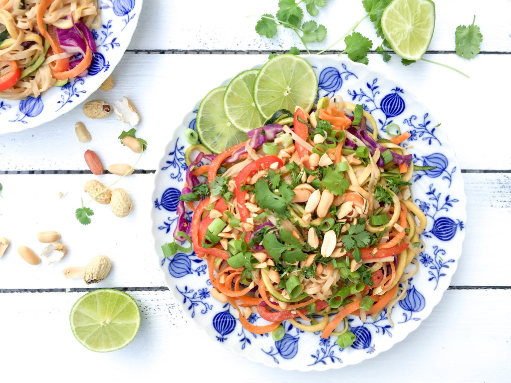 Healthy Pad Thai with Peanuts and Coriander - vegan, gluten-free, dairy-free, egg-free, refined-sugar-free