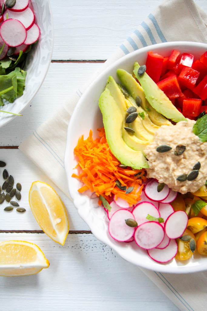 Hummus-Salad-Bowl-with-Tahini-Mint-Dressing-2