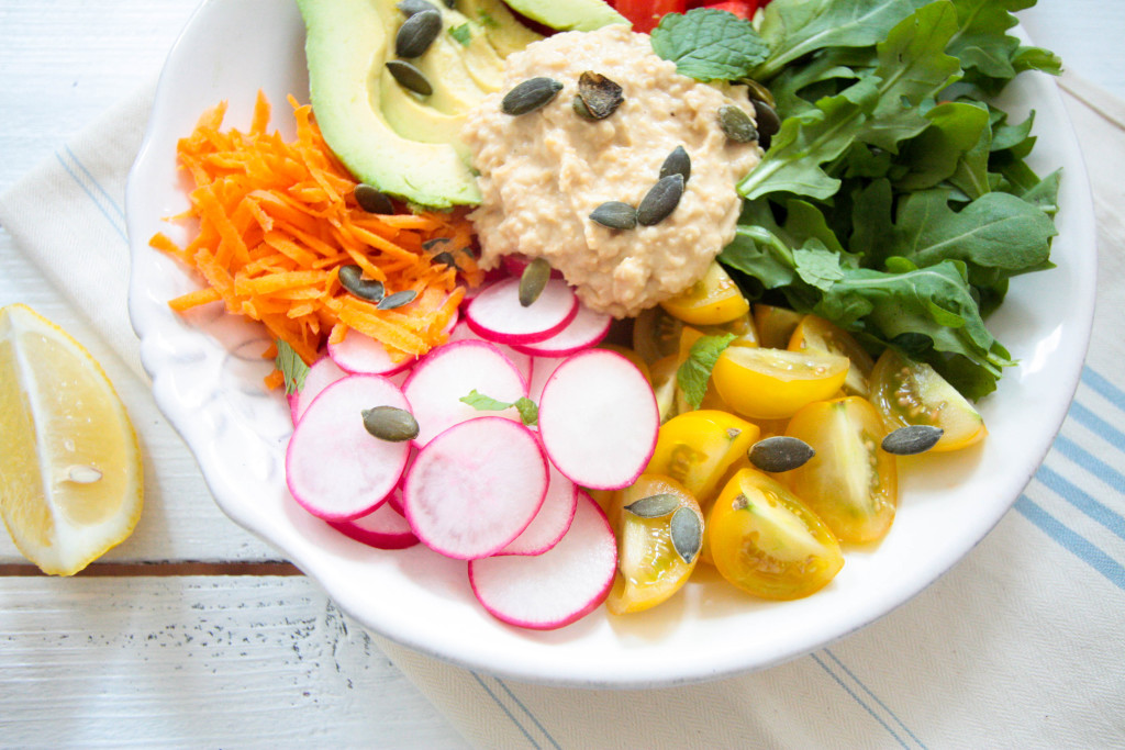 Hummus-Salad-Bowl-with-Tahini-Mint-Dressing-4