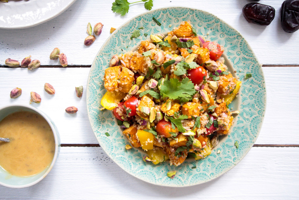 Sesame Roasted Sweet Potatoes and Quinoa Salad with Pistachios and Date-Dijon-Dressing