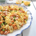 "Curried Cauliflower-""Rice"" with Roasted Chickpeas and Cashews"
