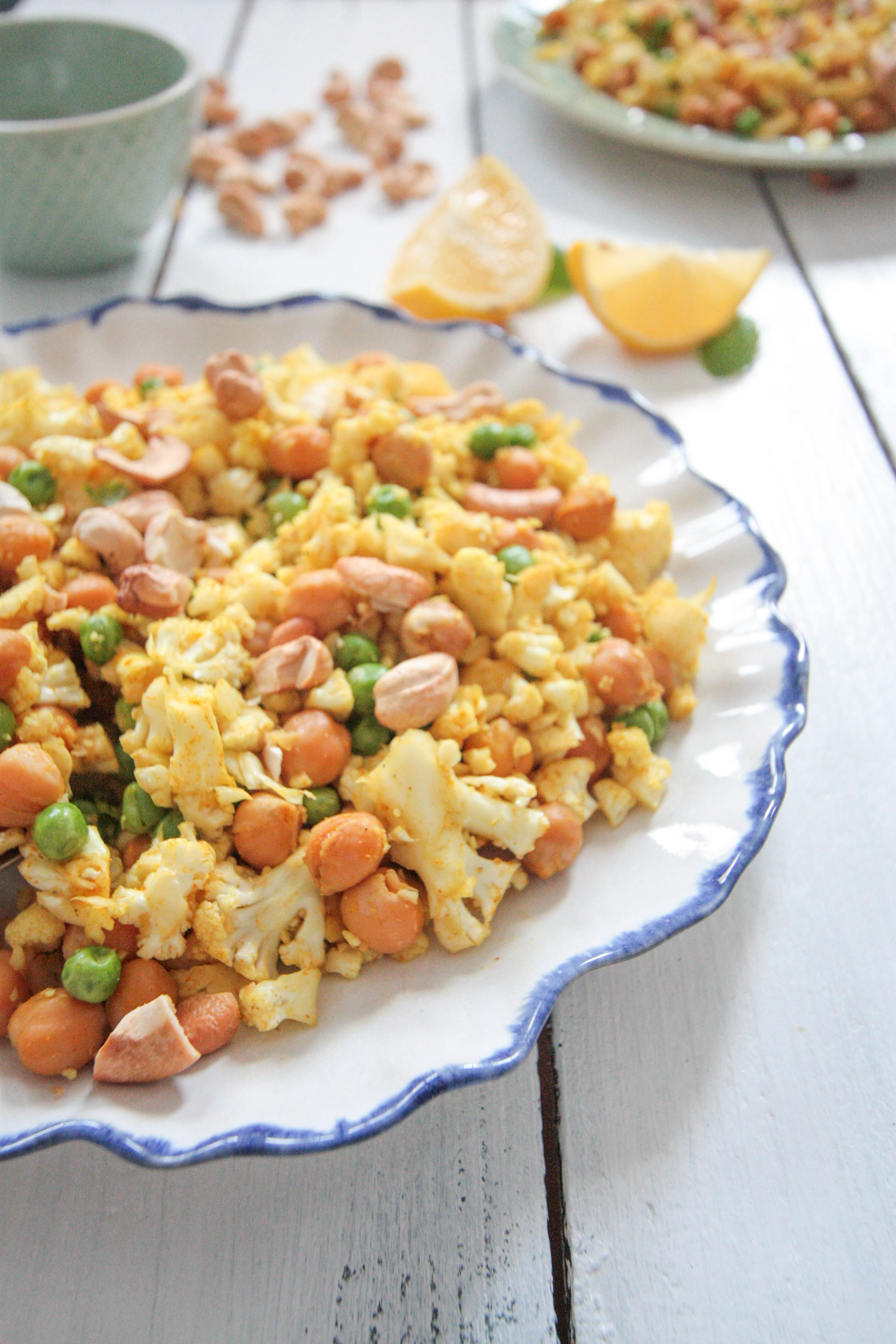 """Curried Cauliflower-""""Rice"""" with Roasted Chickpeas and Cashews"""