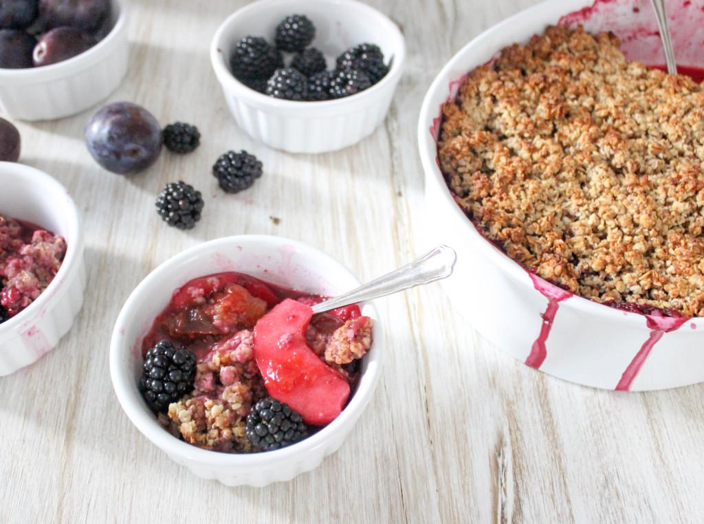 Damson, Apple & Blackberry Crumble - gluten-free, dairy-free, refined-sugar-free, vegan