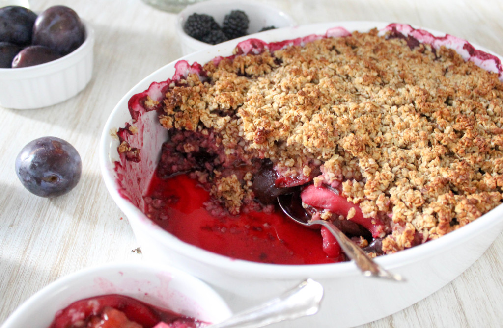 Damson, Apple & Blackberry Crumble - gluten-free, dairy-free, refined-sugar-free, vegan