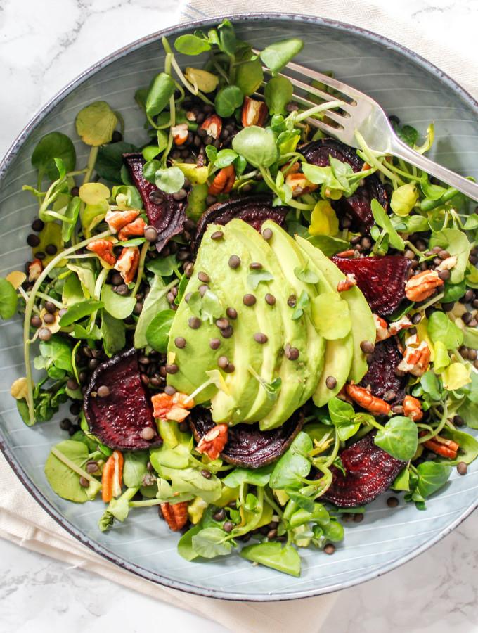 Watercress, Beetroot and Avocado Salad with Beluga Lentils - plant-based, vegan, gluten-free, dairy-free