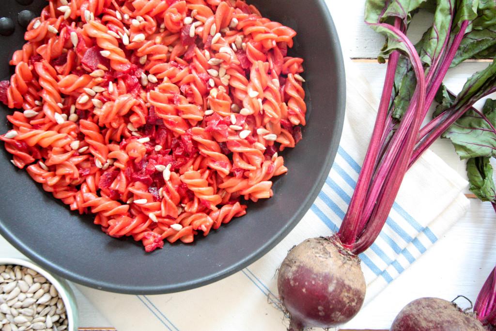 Creamy beetroot and turmeric pasta - plant-based, vegan, gluten free, refined sugar free