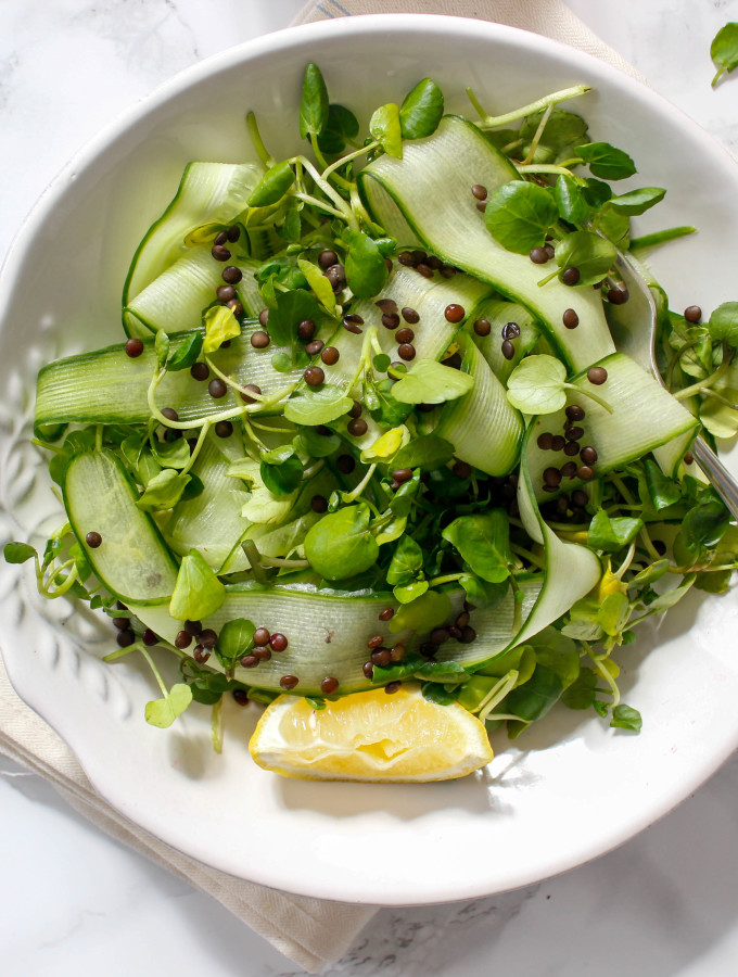Cucumber Salad with Beluga Lentils and Ginger-Turmeric Vinaigrette - plant-based, gluten free, refined sugar free - heavenlynnhealthy.com