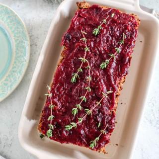 Lentil Loaf with Cranberry Sauce - vegan, plant based, gluten free, refined sugar free - heavenlynnhealthy.com