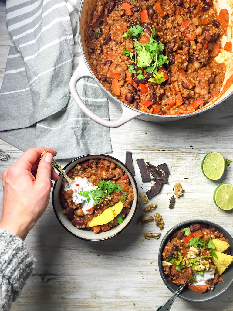Bean and Buckwheat Chili with Dark Chocolate
