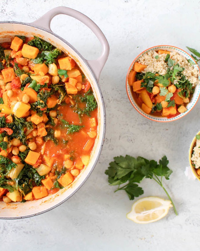 Moroccan Spiced Chickpea, Kale and Sweet Potato Stew - plant based, vegan, vegetarian, refined sugar free, gluten free - heavenlynnhealthy.com