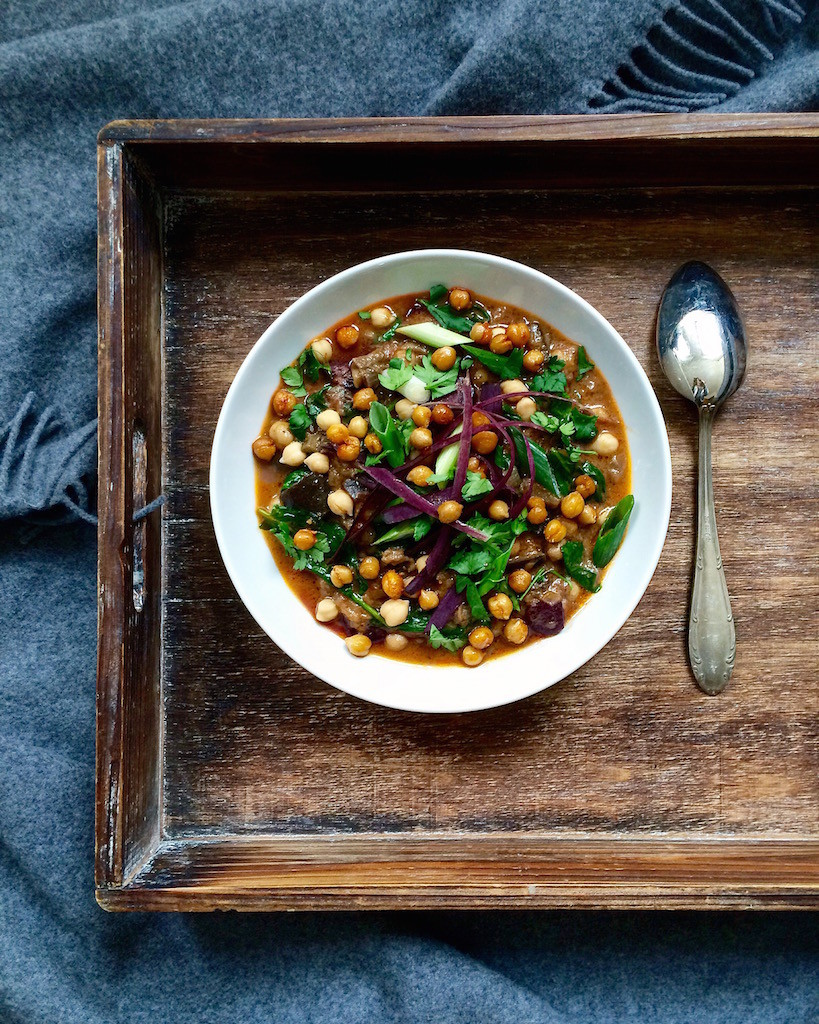 Eggplant Curry with Roasted Chickpeas - plant based, vegan, gluten free, healthy - heavenlynnhealthy.com