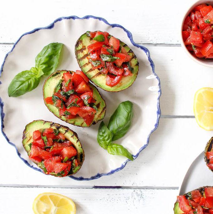 Grilled Avocado Bruschetta - vegetarian, plant based, vegan, gluten free, refined sugar free - heavenlynnhealthy.com