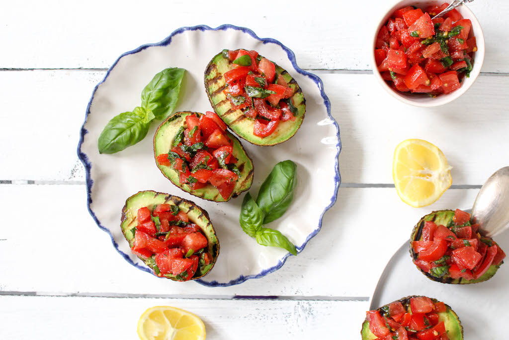 Grilled Avocado Bruschetta