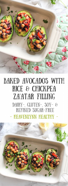 Baked Avocados with Za'atar Rice and Chickpea Filling - plant based, vegetarian, vegan, refined sugar free, gluten free - heavenlynnhealthy.com