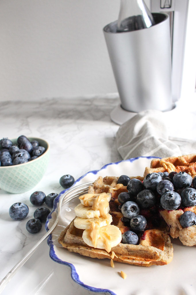 Healthy Blueberry Buckwheat Waffles with Berry Chia Sauce - plant based, gluten free, vegan, refined sugar free - heavenlynnhealthy.com