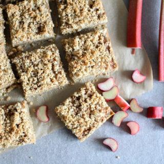 Rhubarb Oat Bars with Streusel Crumb Topping - gluten free, vegan, refined sugar free, healthy - heavenlynnhealthy.com