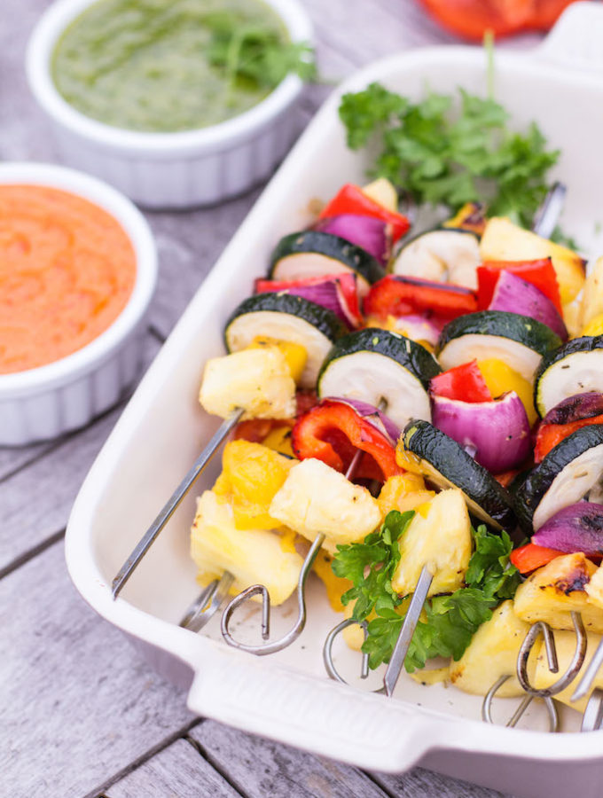 Grilled Mango & Pineapple Vegetable Skewers with Mojo Rojo & Mojo Verde - plant based, gluten free, refined sugar free, vegan, vegetarian - heavenlynnhealthy.com