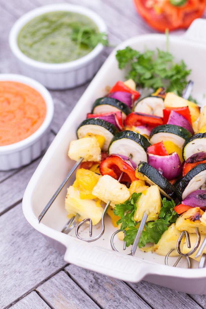 Grilled Mango & Pineapple Vegetable Skewers with Mojo Rojo & Mojo Verde