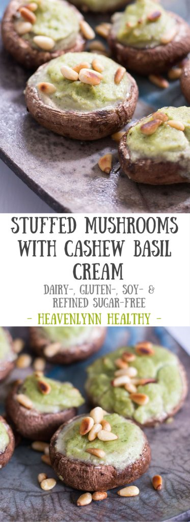 Stuffed Mushrooms with Cashew Basil Cream - plant based, dairy free, gluten free, vegan - heavenlynnhealthy.com