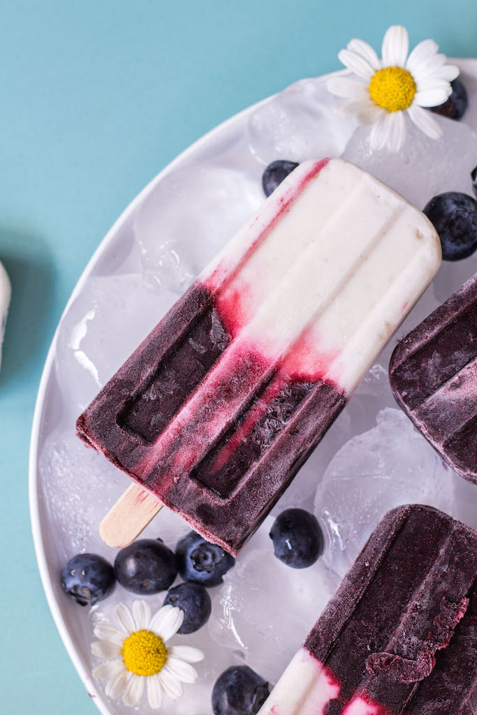Blueberry Coconut Yoghurt Popsicles