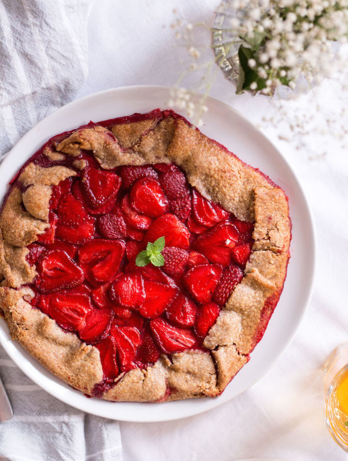 Healthy Strawberry Galette - plant based, gluten free, refined sugar free, vegan - heavenlynnhealthy.com