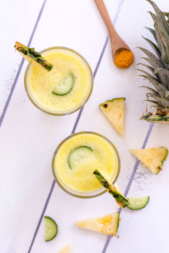Pineapple Turmeric Smoothie with Cucumber and Ginger - plant based, gluten free, refined sugar free, vegan, dairy-free - heavenlynnhealthy.com