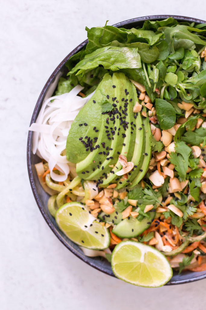 Summer Roll Bowl with Peanut Lime Sauce - plant based, vegetarian, vegan, refined sugar free, gluten free - heavenlynnhealthy.com