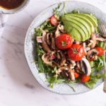 Tamari sautéed mushroom salad with rocket and mole dressing - plant based, gluten free, vegetarian, vegan option, refined sugar free - heavenlynnhealthy.com