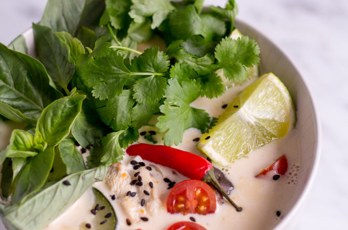 Thai Coconut Soup (Tom Kha Veggie) - vegan, plant based, gluten free, refined sugar free - heavenlynnhealthy.com