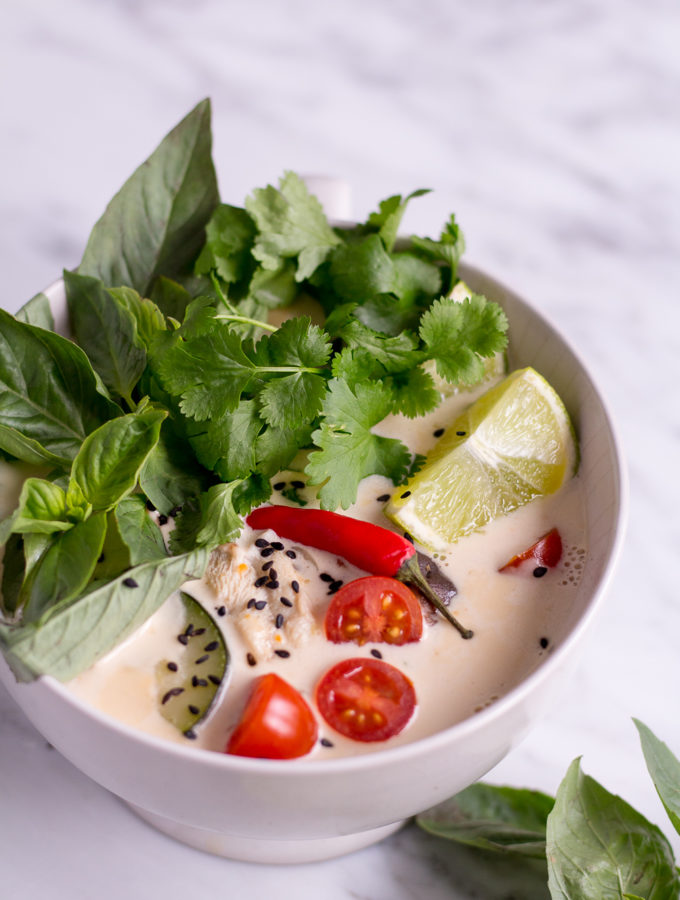 Thai Coconut Soup (Tom Kha Veggie) - vegan, plant based, gluten free, refined sugar free - heavenlynnhealthy.com