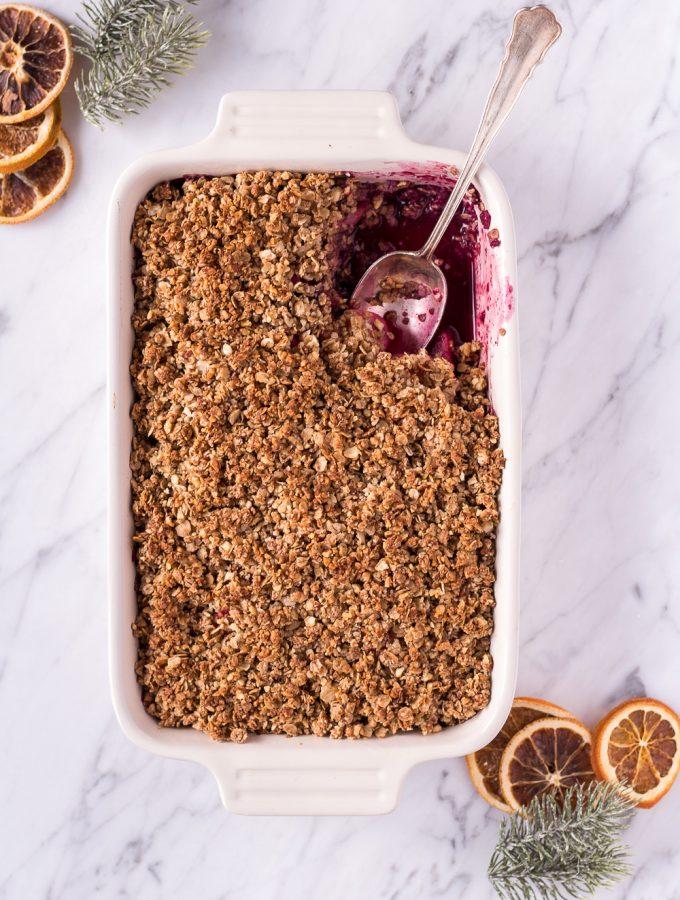 Healthy Gingerbread Crumble - plant based, vegan, gluten free, refined sugar free, dairy free - heavenlynnhealthy.com