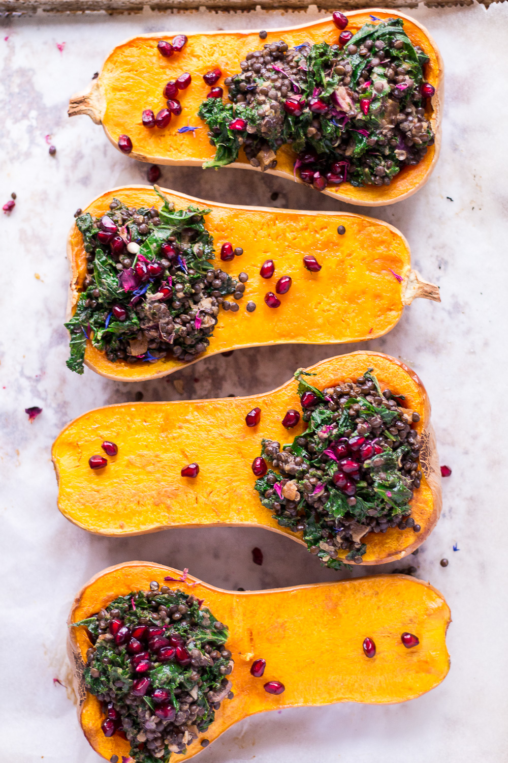 Christmas menu entrée: Holiday Stuffed Butternut Squash with Lentils and Kale