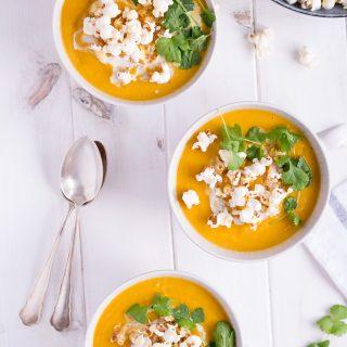 Christmas Menu Appetizer: Sweet Potato & Parsnip Soup with Truffle-Popcorn - plant based, vegan, gluten free, refined sugar free, dairy free - heavenlynnhealthy.com