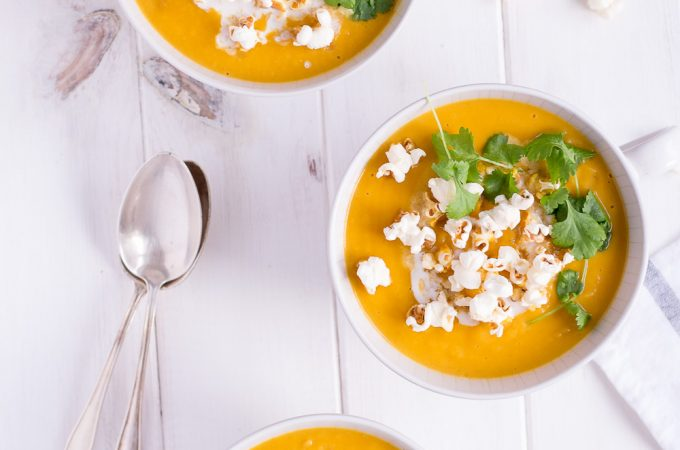 Christmas Menu Appetizer: Sweet Potato & Parsnip Soup with Truffle-Popcorn - plant based, vegan, gluten free, refined sugar free, dairy free - heavenlynnhealthy.com