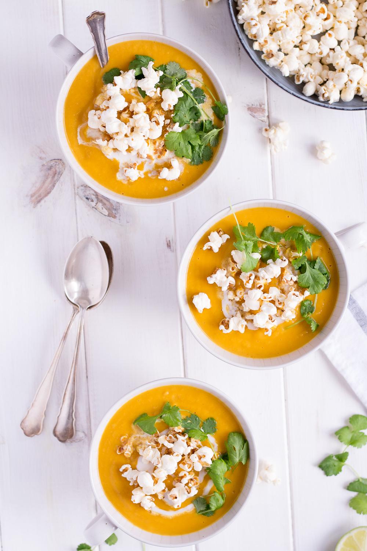 Christmas Menu Appetizer: Sweet Potato & Parsnip Soup with Truffle-Popcorn