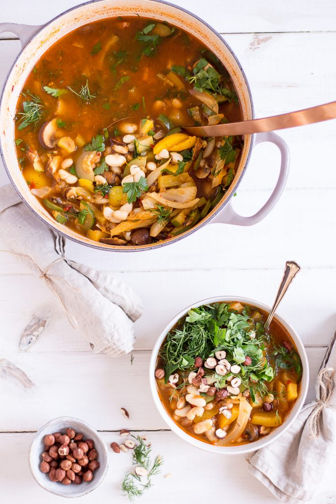 Cannellini Bean Stew with Hazelnuts and Dill - plant-based, vegan, gluten free, refined sugar free - heavenlynnhealthy.com
