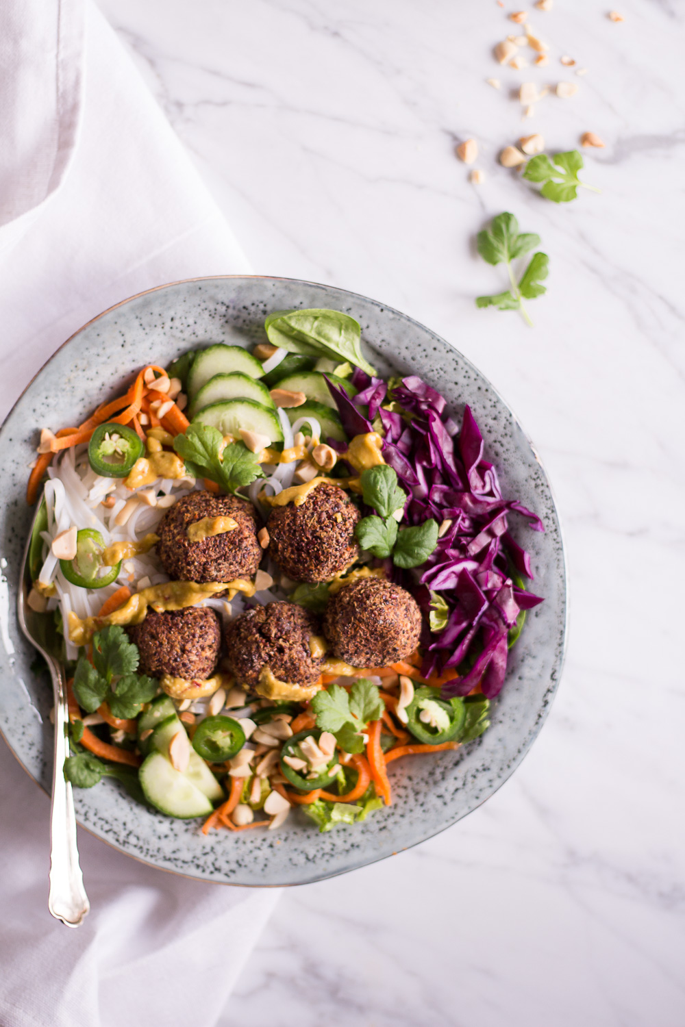 Vietnamese Banh Mi Bowl with plant based quinoa meatballs
