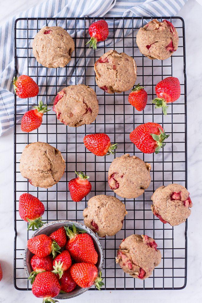 Healthy Strawberry Muffins - plant-based, vegan, gluten free, refined sugar free - heavenlynnhealthy.com